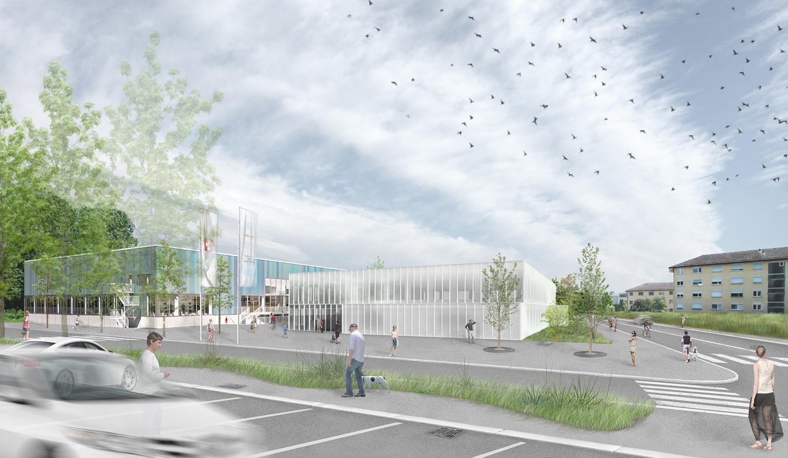 projet de construction d'une piscine municipale avec façades vitrées