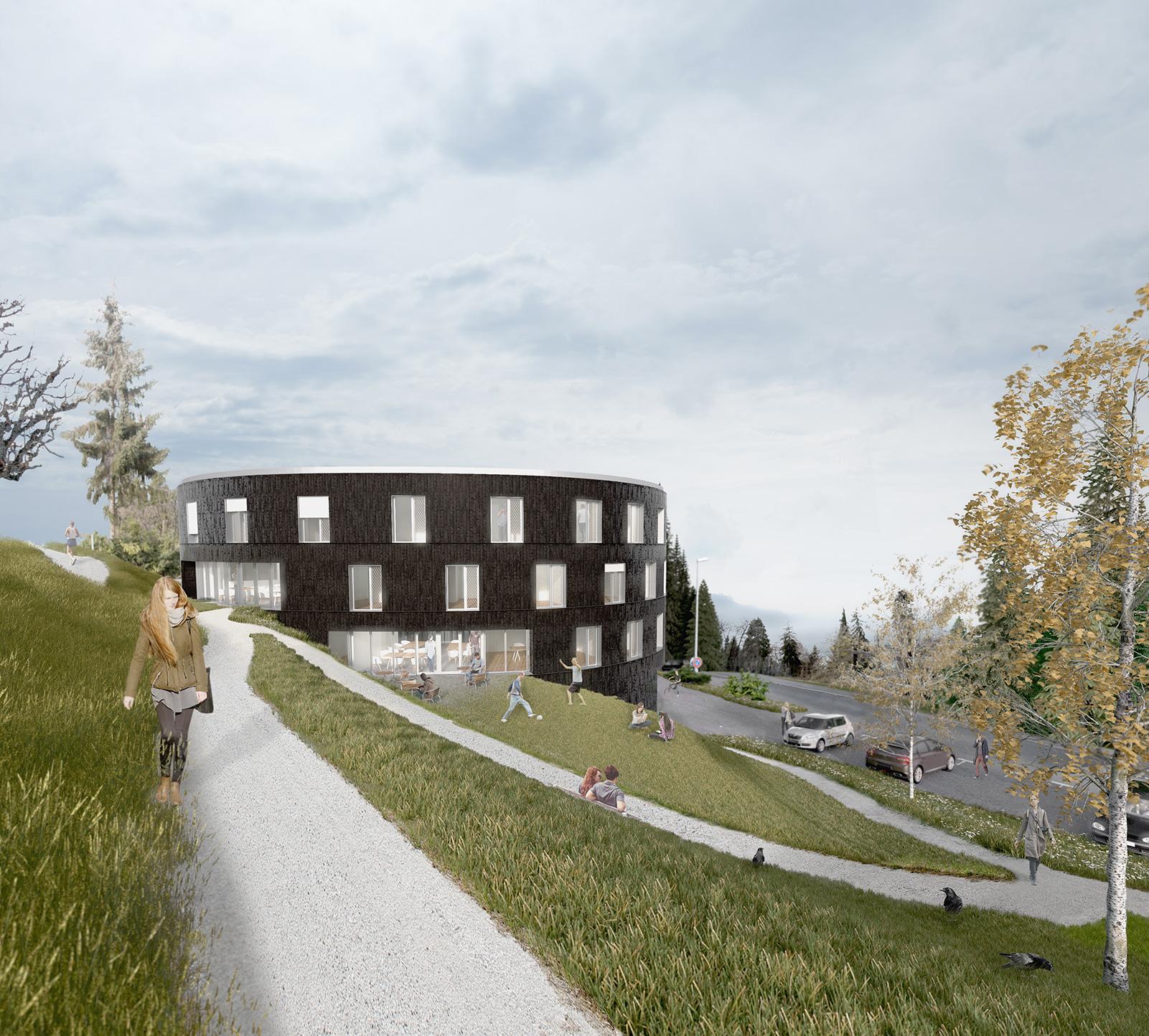 vue 3D d'un bâtriment médico-social avec façades arrondies en bardage en bois brûlé