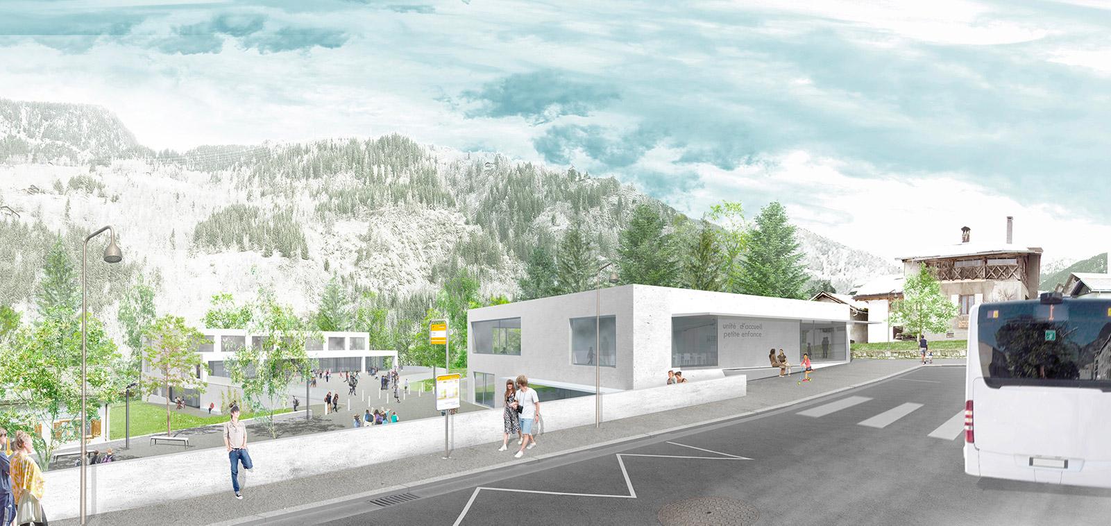vue 3D du concours d'un ensemble pôle petite enfance, crèche, école et salle de sport