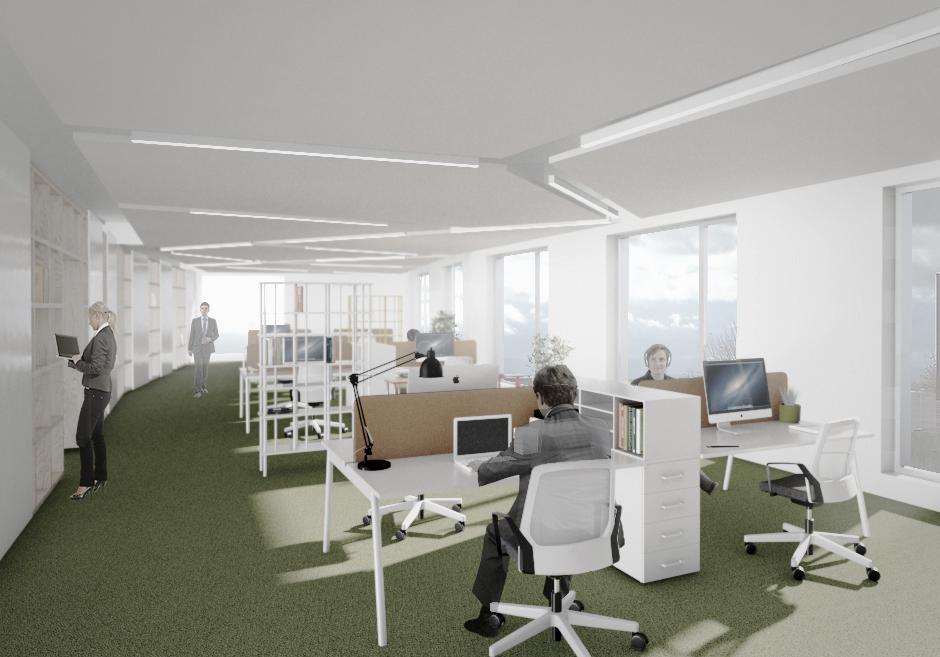 vue 3D d'un aménagement d'un plateau de bureaux en open space