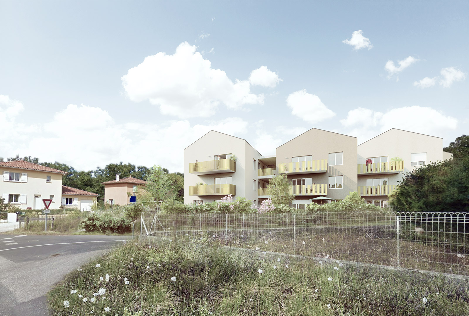 construction d'un ensemble de logements collectifs intermédiaires avec circulation extérieure et toitur sans débord