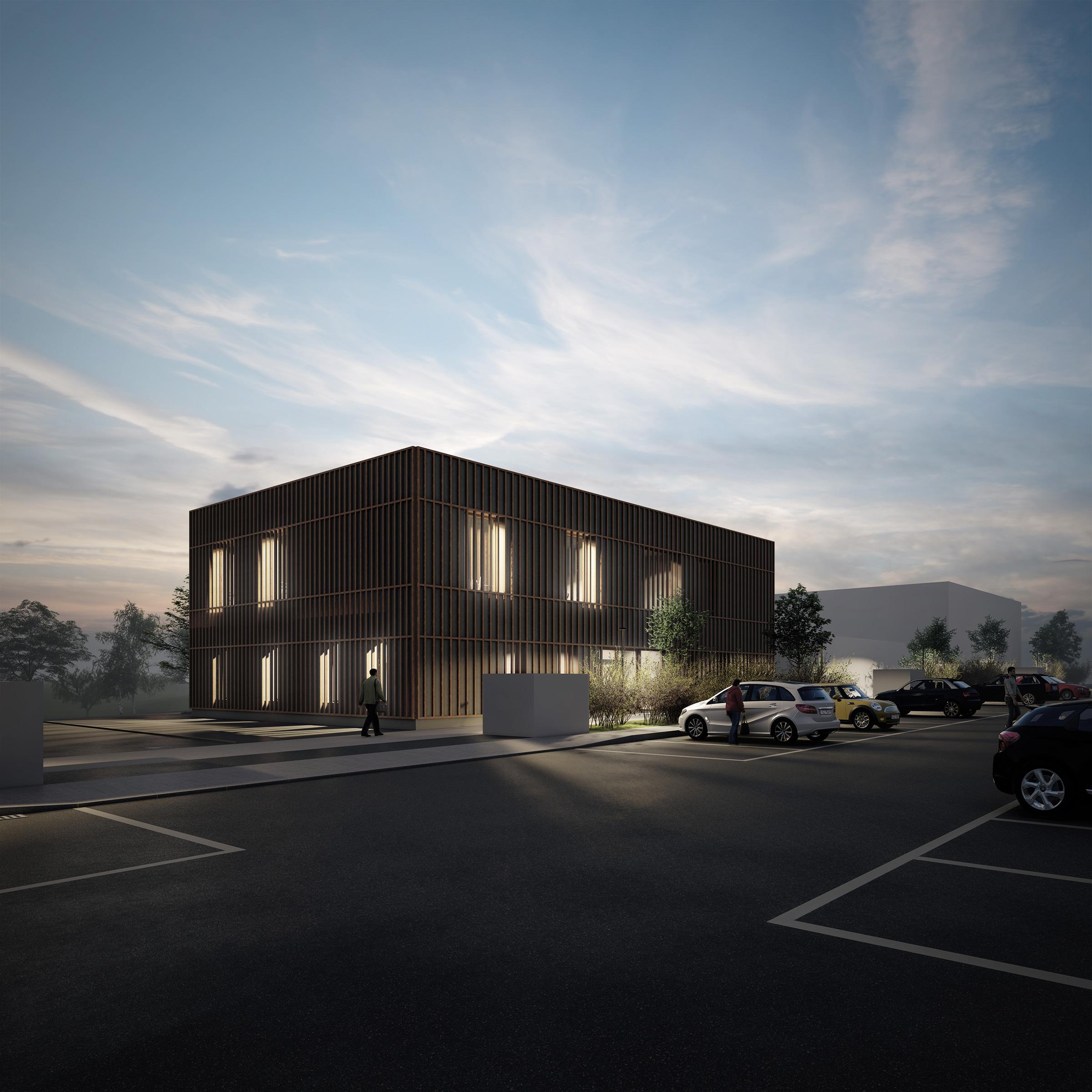 centre paramédical et fitness - bâtiment d'activités - vue de nuit du projet d'architecture
