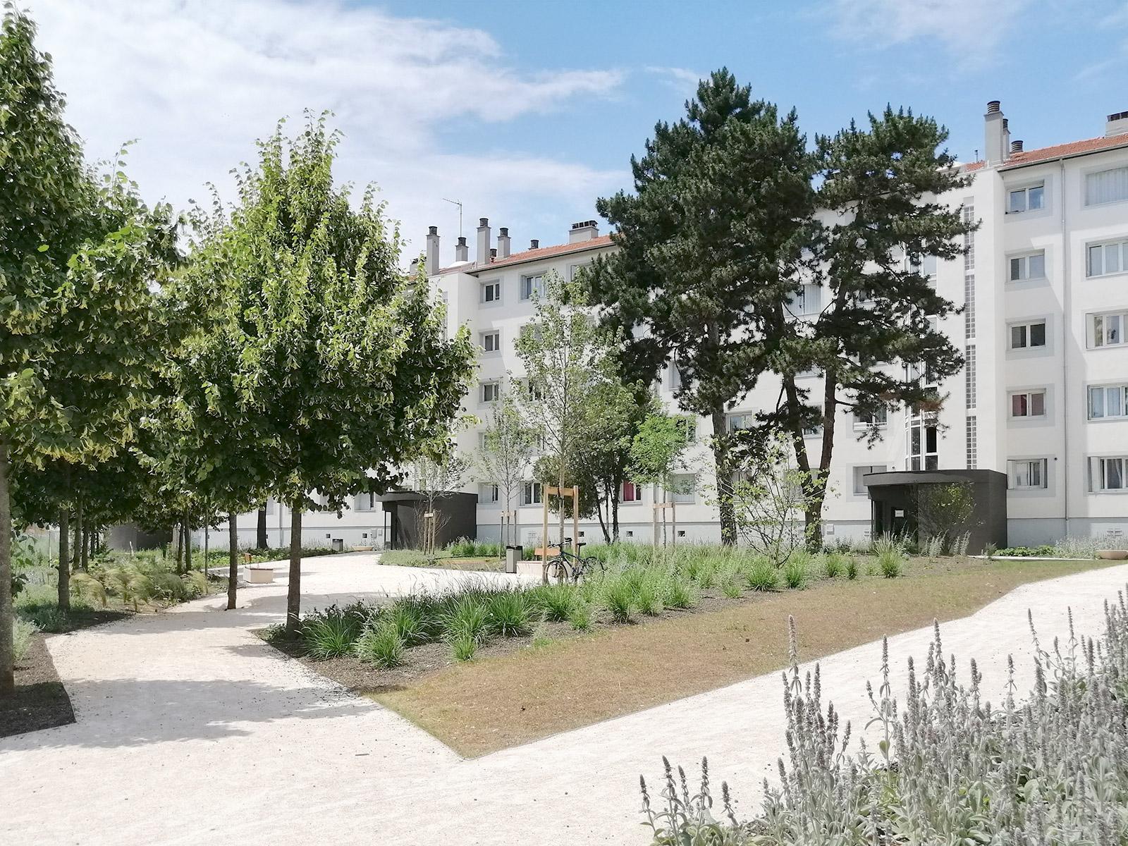 espaces verts logement collectif aménagements extérieurs urbain