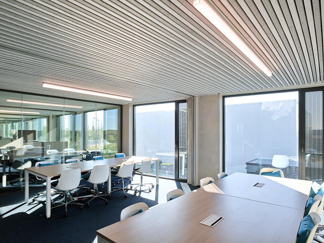 bureaux salle de réunion architecte Lyon aéroport plafond acoustique lames feutre