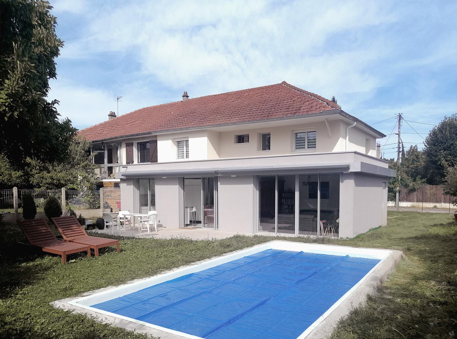 maison plan favier Lyon Tassin réhabilitation extension transformation toit terrasse chantier