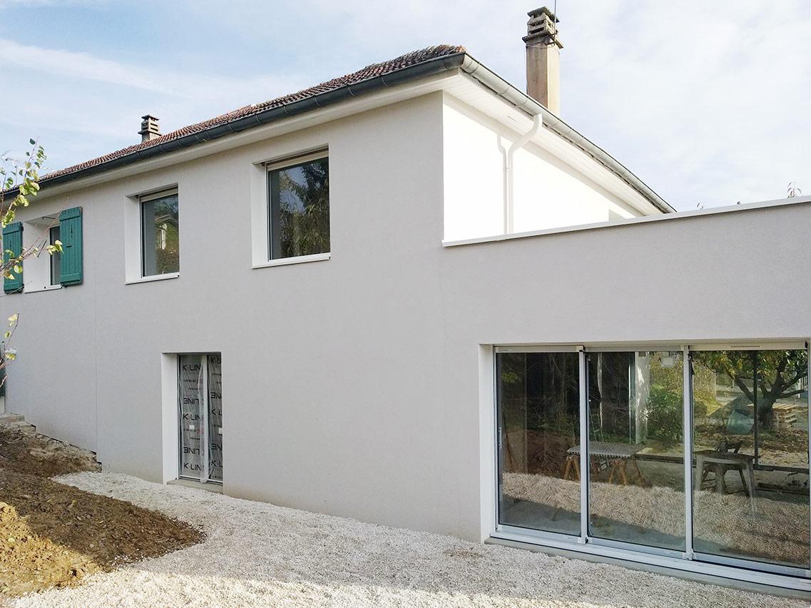 Renovation Et Extension D Une Maison Type Plan Favier A Tassin Formidable Architectes