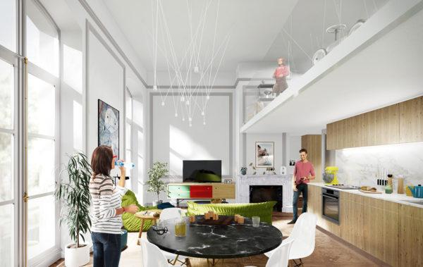 découpe et aménagement d'intérieur d'un appartement à Lyon par un architecte - architecte d'intérieur